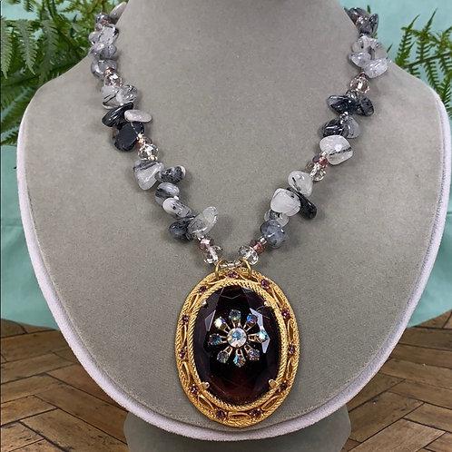 Purple Dreamy amethyst quartz crystal necklace