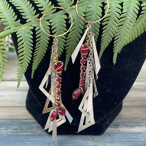 Adorned Crown assemblage red cascade earrings