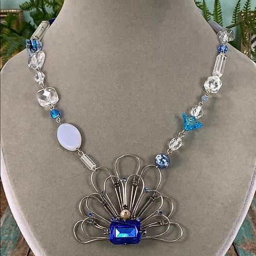 Something blue beaded necklace