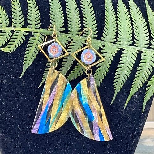 Pastel purple Half moon acrylic flower earrings
