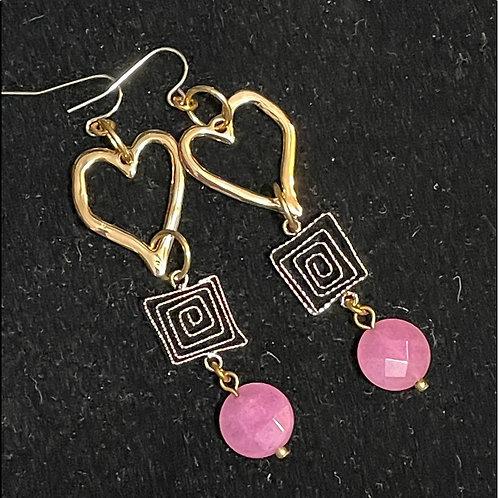 Cute pink stone heart swirl earrings
