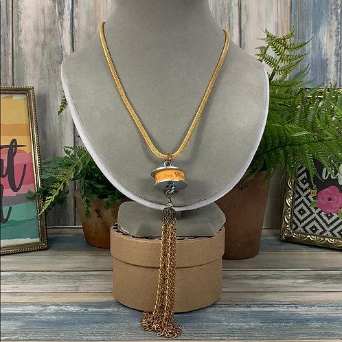 Steampunk yellow washer tassel necklace