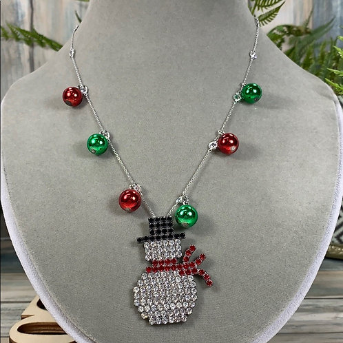 Red green Let It Snow Man rhinestone necklace