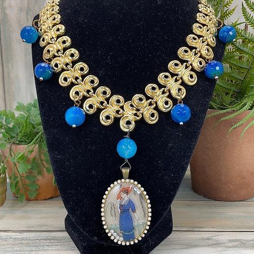 Blue Fancy lady Assemblage ornate link necklace