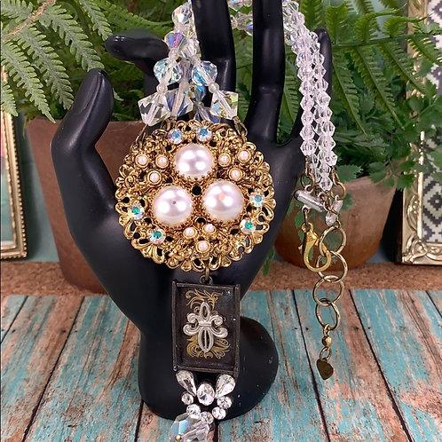 Cluster vintage crystal fleur de lis necklace