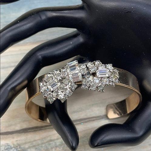 Blinged out golden rhinestone cuff bracelet