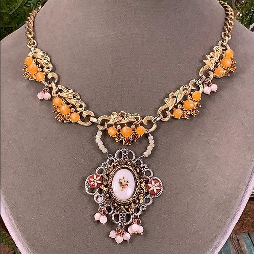Orange Boho garden crystal floral necklace