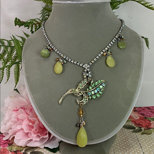 Green with envy rhinestone stone necklace