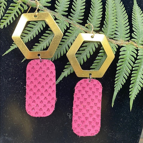 Pink Trendy leather statement earrings hex