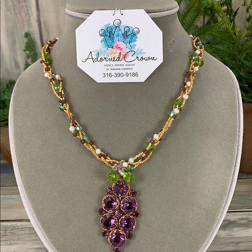 Purple green Stunning amethyst braided beaded necklace