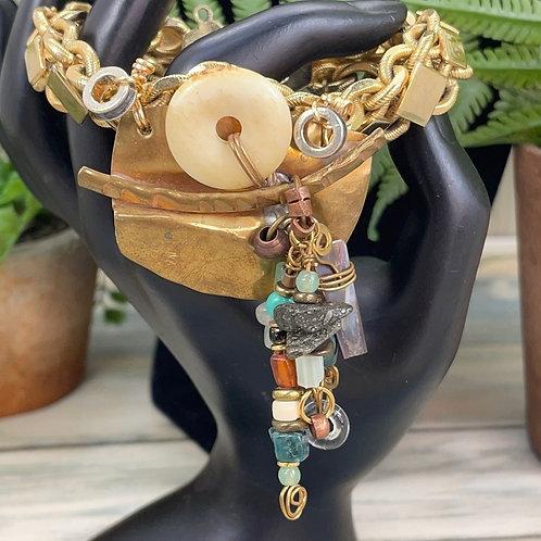 Adorned Crown steampunk design chunky bracelet