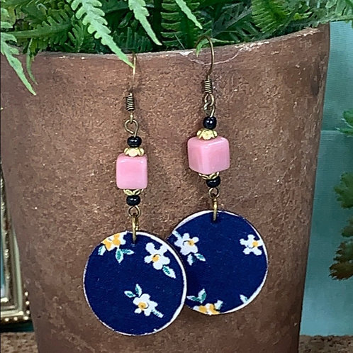 Blue vintage fabric pink bead disc earrings