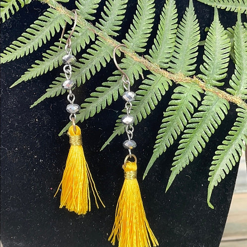 Yellow assemblage tassel earrings