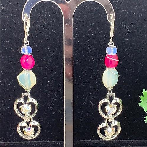 Pink Moonstone assemblage rhinestone earrings