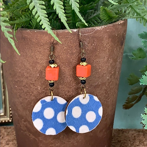 Blue vintage fabric orange bead disc earrings