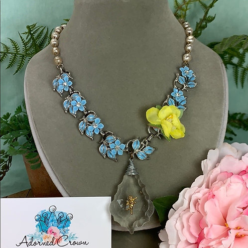 Blue yellow Vintage fabric flower & crystal necklace