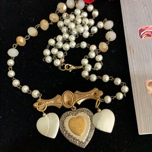 Ivory Victorian assemblage shell heart necklace