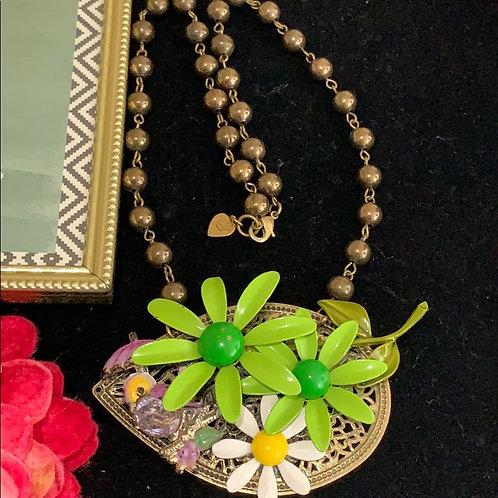 Summer garden enamel green flower bird necklace