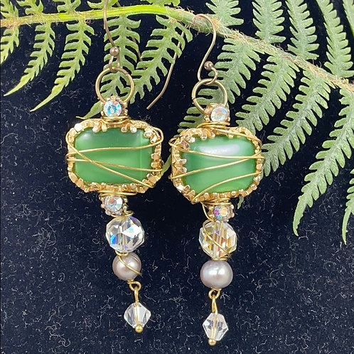Vintage wire wrapped green crystal earrings