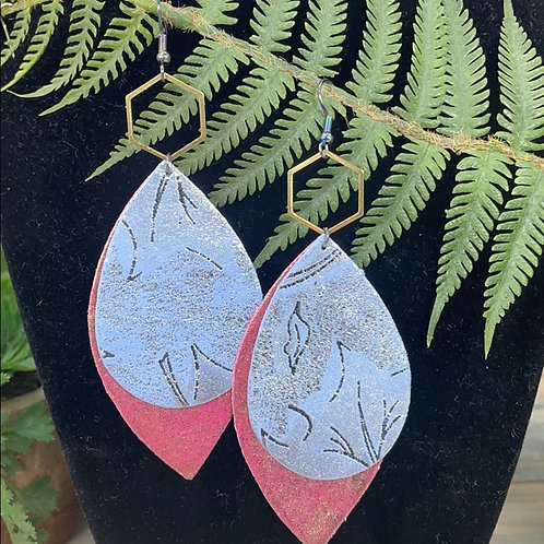 Pink blue Double leather hex statement earrings