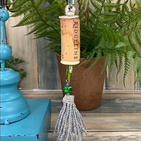 Green silver assemblage Wine cork ornament