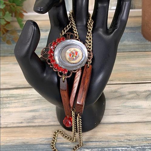 Retro Vibes wood bead red rhinestone necklace