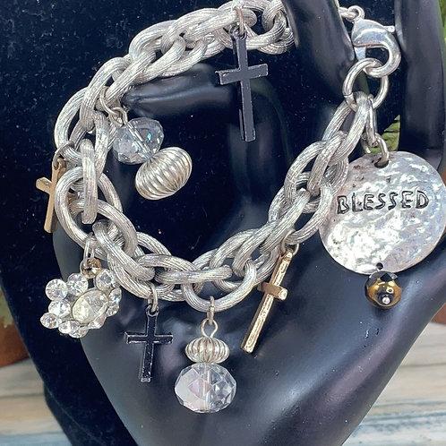 Adorned Crown blessed cross chunky bracelet