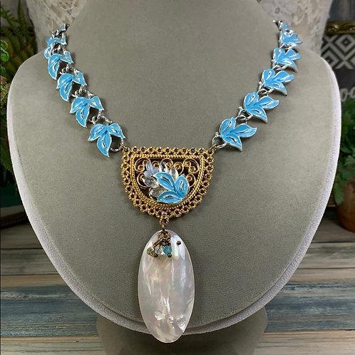 Statement enamel blue leaf pearl shell necklace
