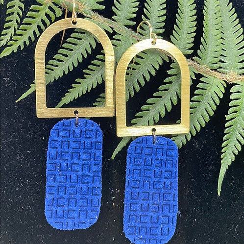 Brushed arch blue leather earrings