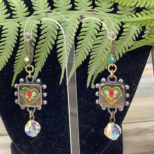 Adorned Crown micro mosaic heart earrings