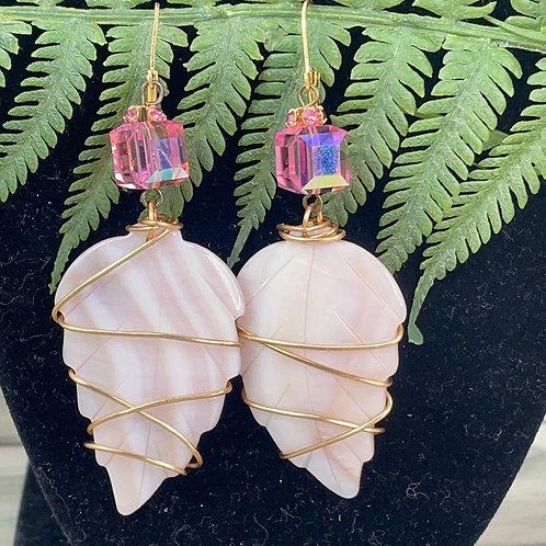 Adorned Crown Pearl leaf pink crystal earrings