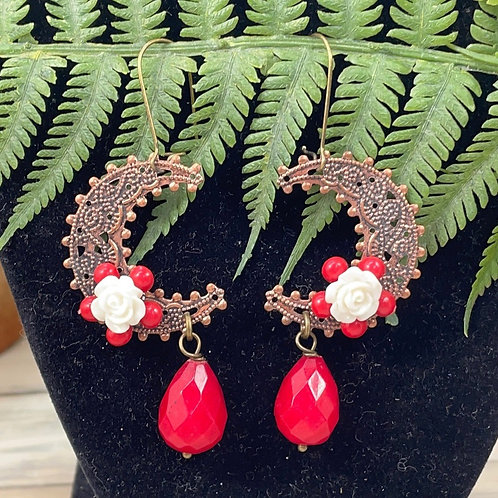 Adorned Crown assemblage red crescent earrings