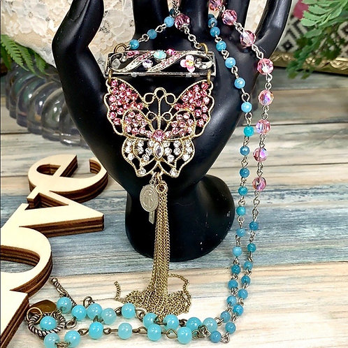 Teal pink Awakening pink crystal butterfly necklace