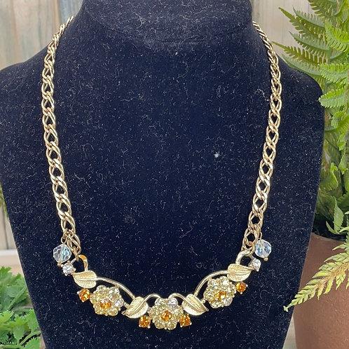 Adorned Crown rhinestone chain statement necklace