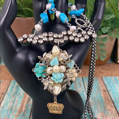 Teal Above the bar rhinestone cluster necklace