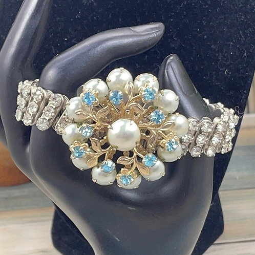 Breakfast at Tiffany's rhinestone blue cluster bracelet