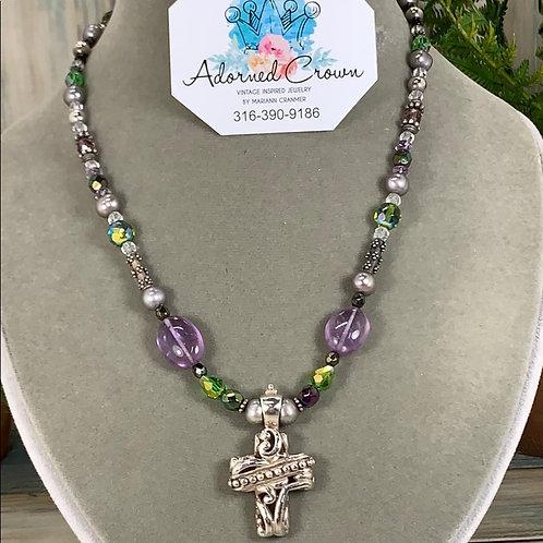 Purple green Beaded sterling cross amethyst necklace