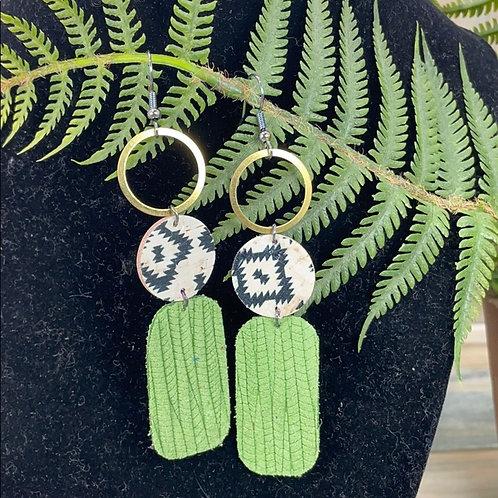 Green Trendy leather statement earrings brass hoops