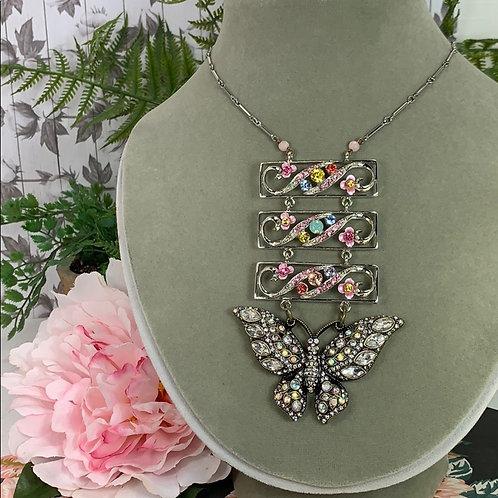Pink Pastel Glittery butterfly long necklace