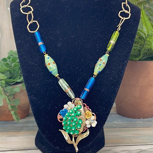 Glass bead assemblage green cluster necklace