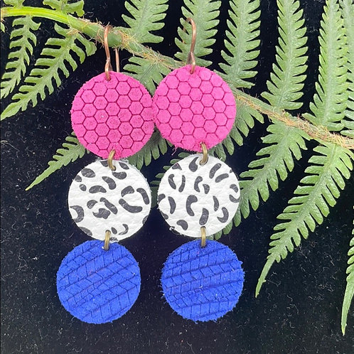 Pink blue Colorful three disc leather earrings