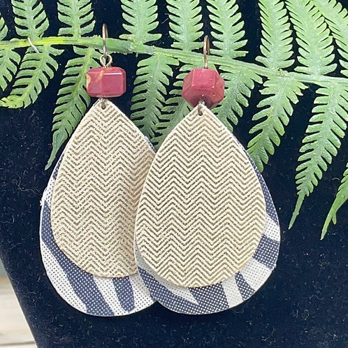 Red Double leather & stone statement earrings