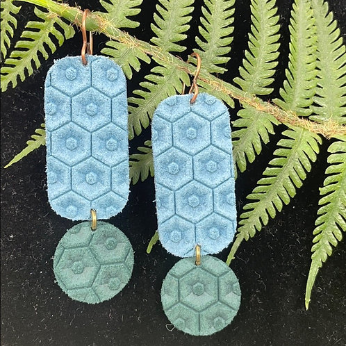 Geo leather statement earrings blue & green