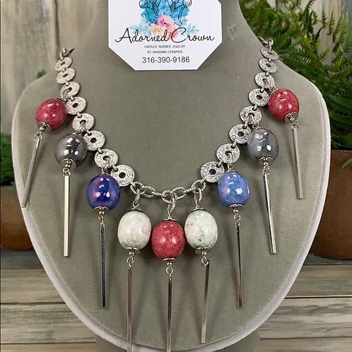 Red blue Retro modern twist ceramic bead spike necklace