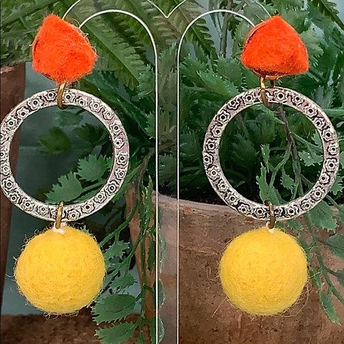 Textile orange yellow wool ball earrings