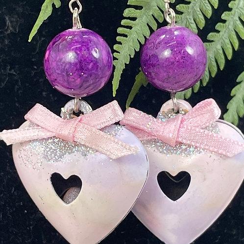 Pink purple Vintage enamel puffy heart bead earrings