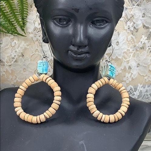 Beachy coconut teal bead & scarab earrings