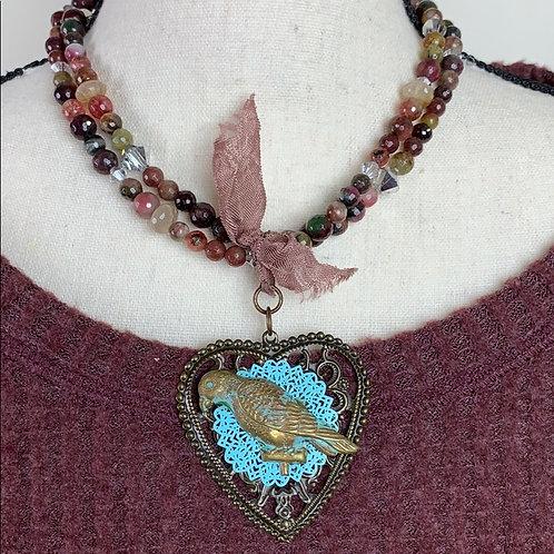 Multicolored Agate stone multi strand bead bird heart necklace