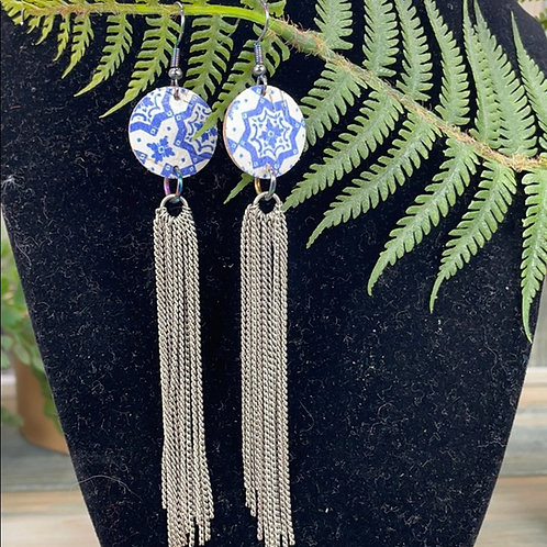 Blue Trendy leather disc & chain tassel earrings