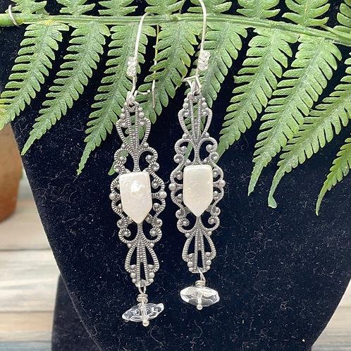 Adorned Crown Pearl filigree crystal earrings